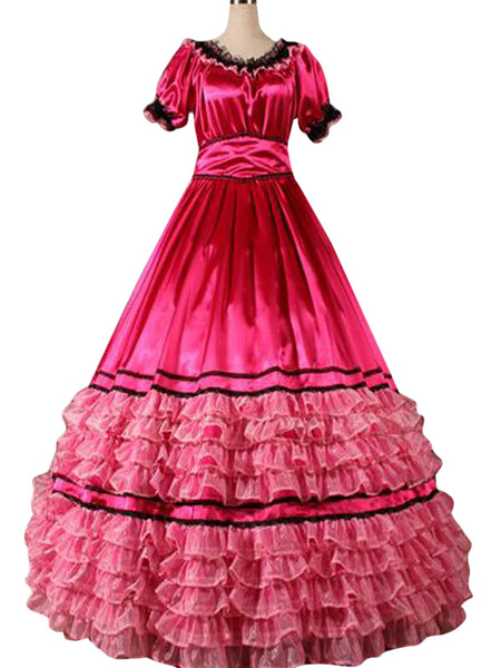Milanoo Victorian Retro Costumes Women's Ruffles Lace Stripe Red Ball Gown Victorian Era Style Clothing Halloween Costumes