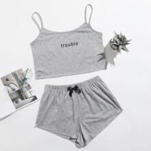 Cami Schlafanzug Set mit Buchstaben Grafik und Schleife vorn
