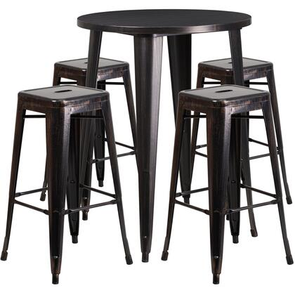 CH-51090BH-4-30SQST-BQ-GG 5 Piece Indoor-Outdoor Bar Table Set with 4 Square Seat Backless Stools  Footrest Support  Protective Rubber Floor Glides