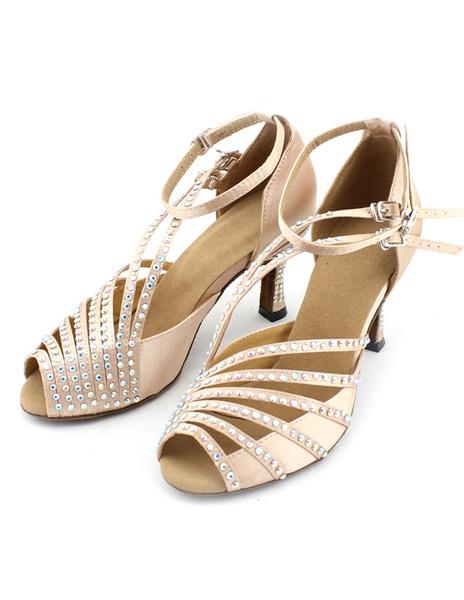 Milanoo Peep Toe Silk Ballroom Shoes