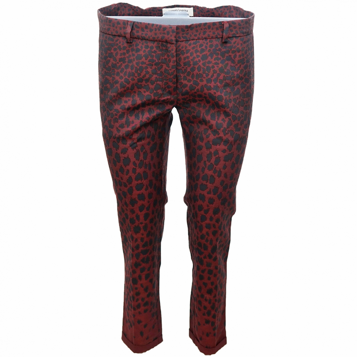 Non Signé / Unsigned \N Burgundy Cotton Trousers for Women 40 FR