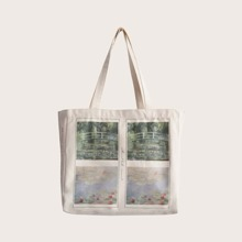 Scenery Print Canvas Tote Bag