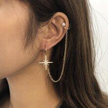 1 Stueck Ohrringe mit Stern Dekor und Kette
