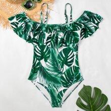 Einteiliger Badeanzug mit tropischem Muster und Schosschen