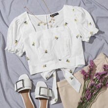 Floral Embroidered Tied Cutout Back Puff Sleeve Top