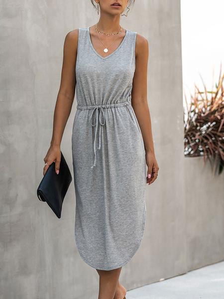Milanoo Summer Dress V-Neck Light Gray Street Wear Beach Dress