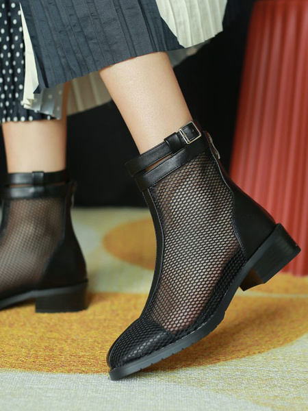 Milanoo Black Summer Boots Women Round Toe Zipper Ankle Boots