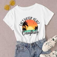 T-Shirt mit tropischem & Buchstaben Grafik