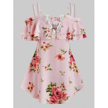 Plus Size Cold Shoulder Floral Print Lace Up  Blouse