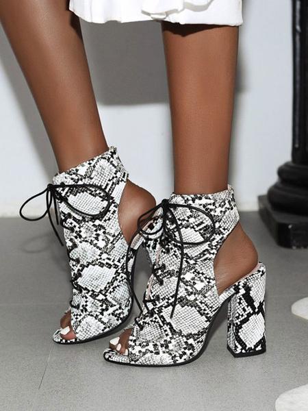 Milanoo Sandalias atractivas de las mujeres Zapatos atractivos del dedo del pie redondo del cuero de la PU del leopardo