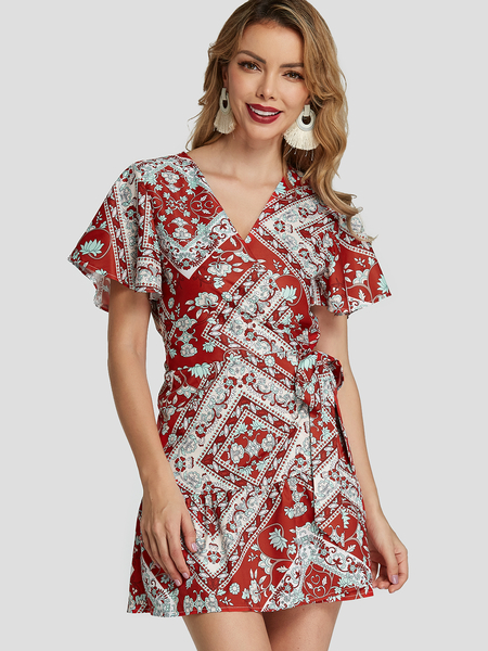 Yoins Red Scarf Print Ruffle Hem Vacation Dress