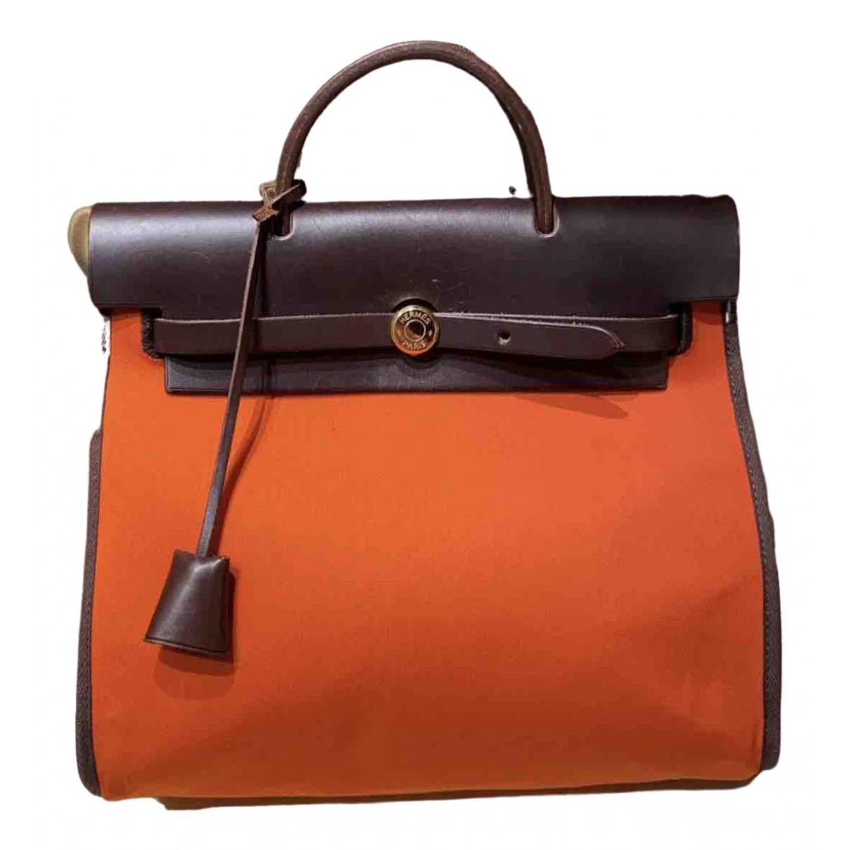 Hermes - Sac a main Herbag pour femme en toile - orange