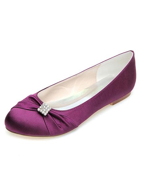 Milanoo Blue Wedding Flats Satin Round Toe Rhinestones Bridal Shoes Mother Shoes