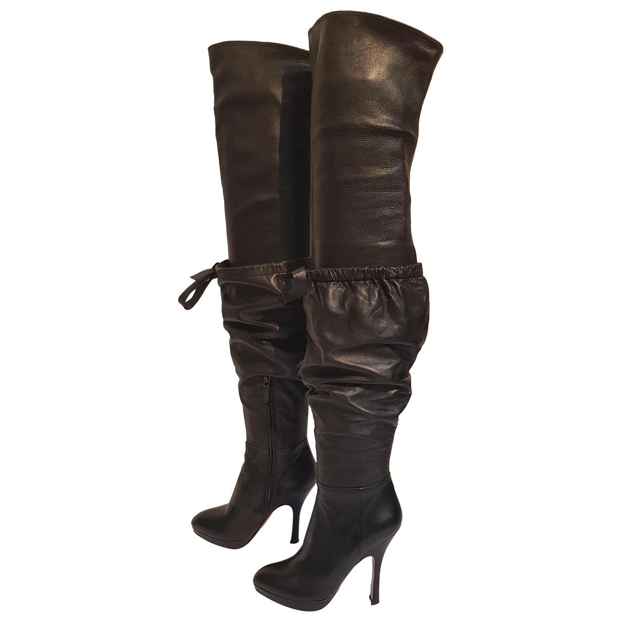 Prada \N Black Leather Boots for Women 36 EU