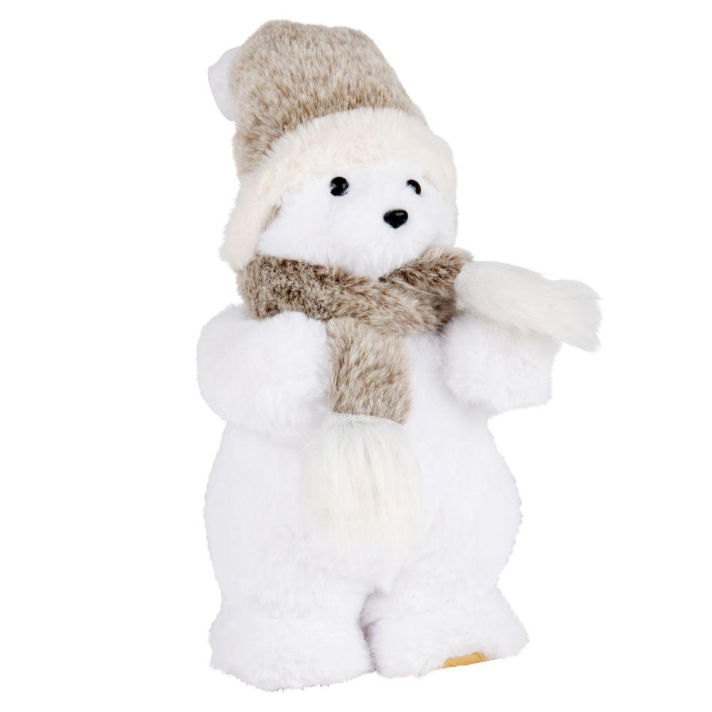 Weihnachtsdeko, weisser Eisbaer mit grauem Schal