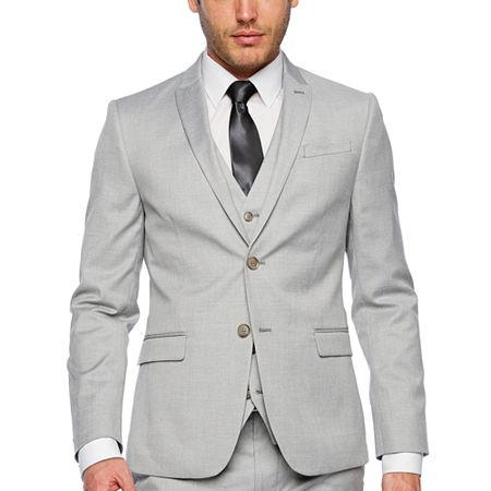 JF J.Ferrar Light Gray Slim Fit Suit Jacket, 38 Long, Gray