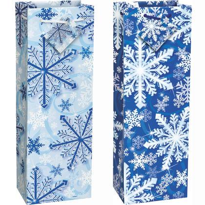 Sparkle Snowflake Wine Gift Bag Assortment, 14.25 x 4.75, 12ct