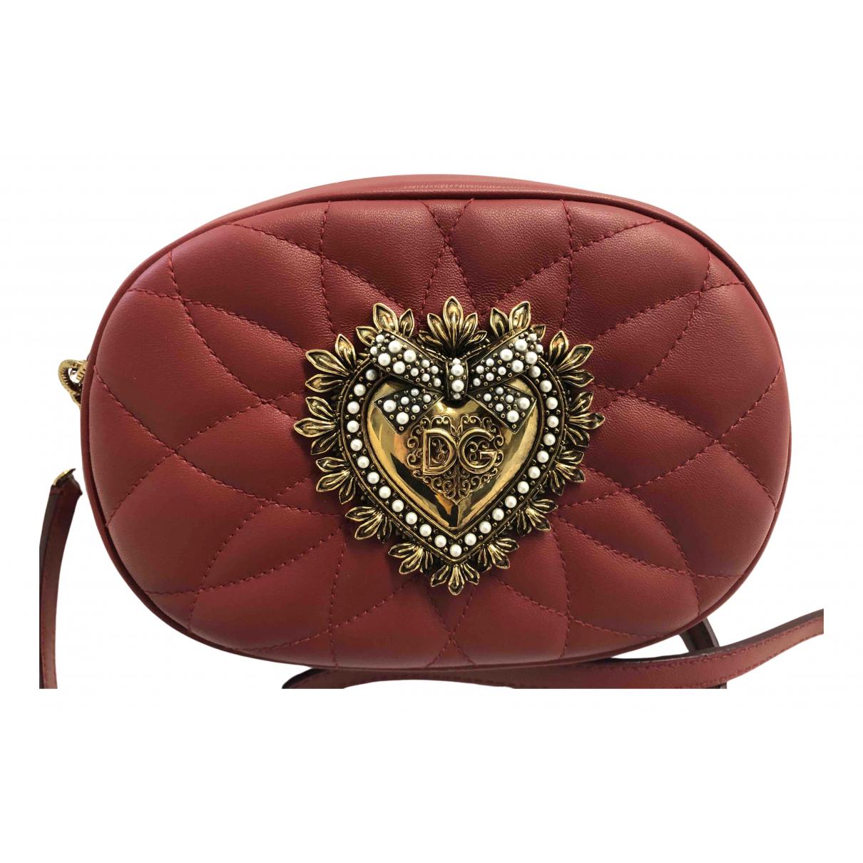 Dolce & Gabbana Devotion Handtasche in  Bordeauxrot Leder