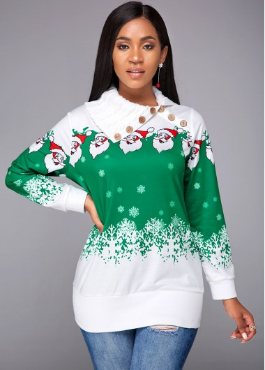 Long Sleeve Santa Claus Print Sweatshirt - S