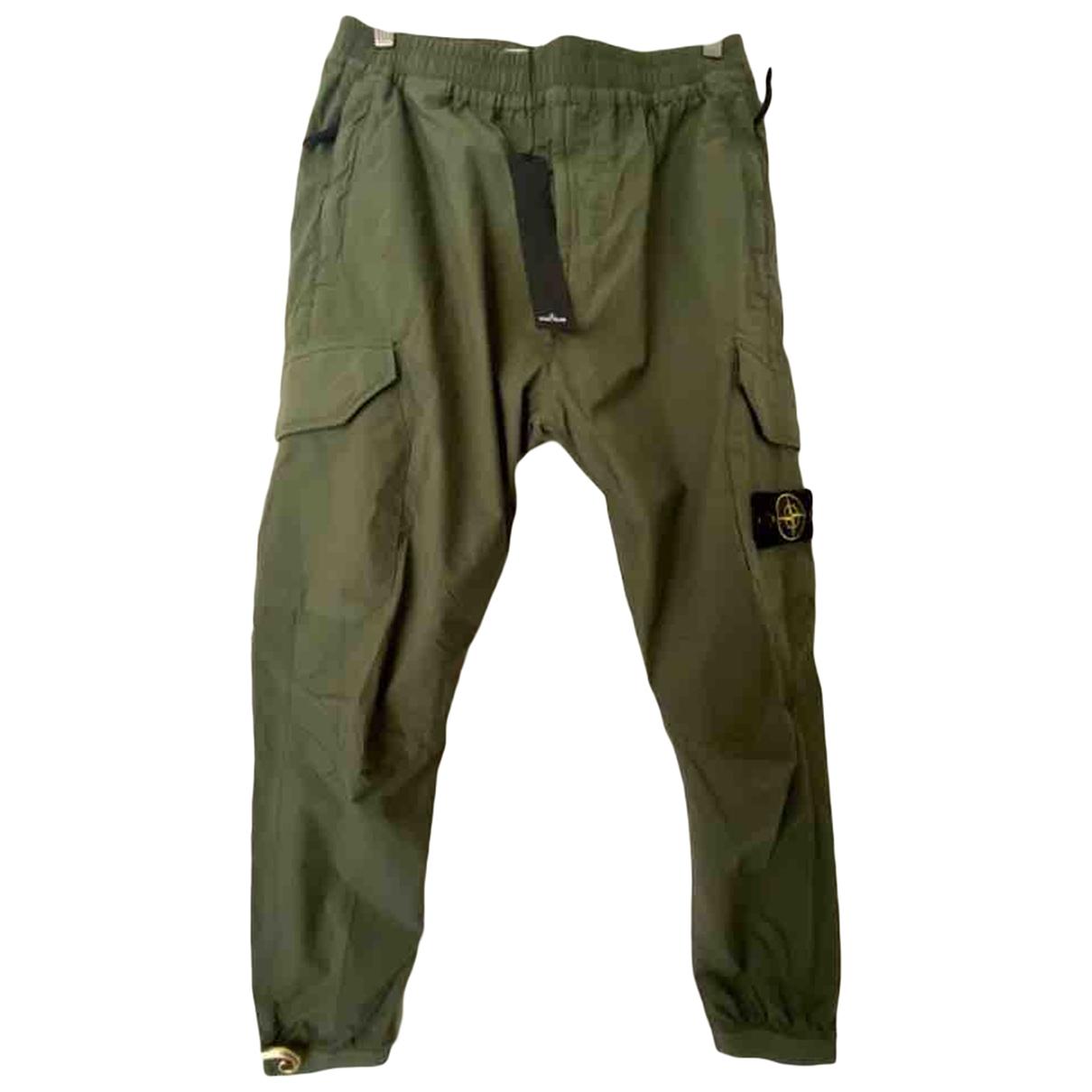 Pantalones en Algodon Caqui Stone Island
