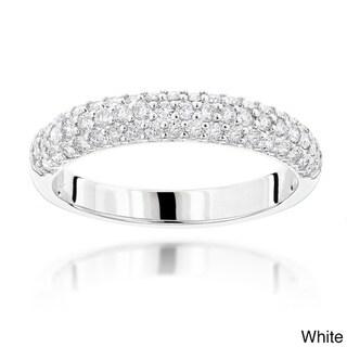Luxurman 14k Gold 1ct TDW Thin Diamond 3-row Ring (White - 5.5)