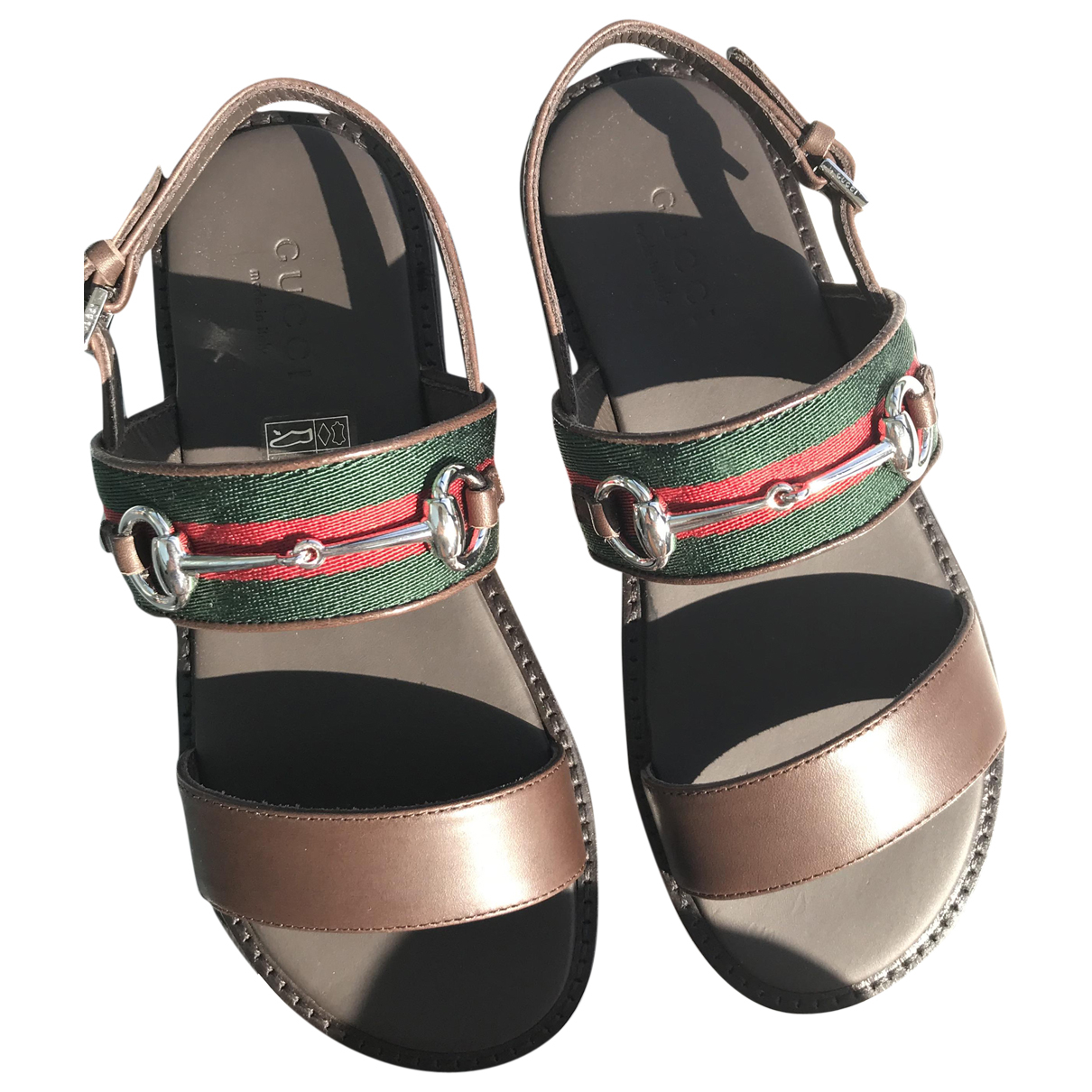Gucci N Brown Leather Sandals for Kids 31 FR