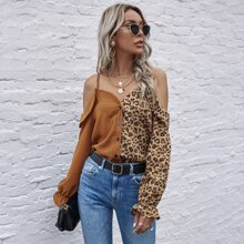 Leopard Panel Cold Shoulder Spliced Blouse