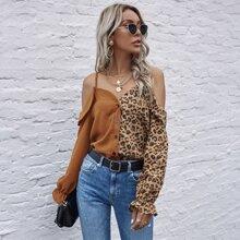 Camisa de hombros caidos panel de leopardo