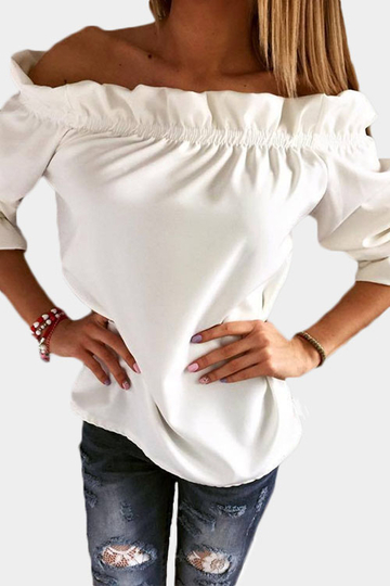 Yoins White Pleated Off Shoulder T-shirt