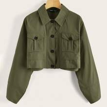 Flap Pocket Front Button Up Crop Jacket