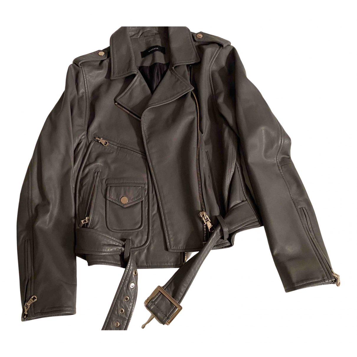 Uterque N Grey Leather Leather jacket for Women M International