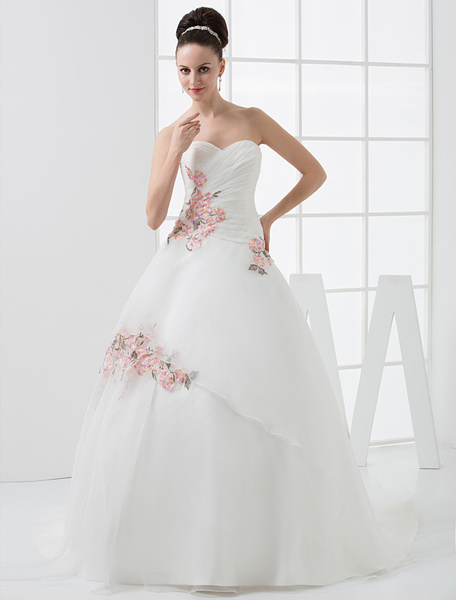 Milanoo Euro Style A-Line Sweetheart Embroidery Beading Satin Wedding Dress
