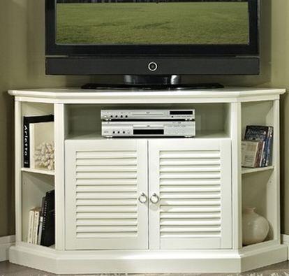 W52CCRWH 52 White Wood Corner TV