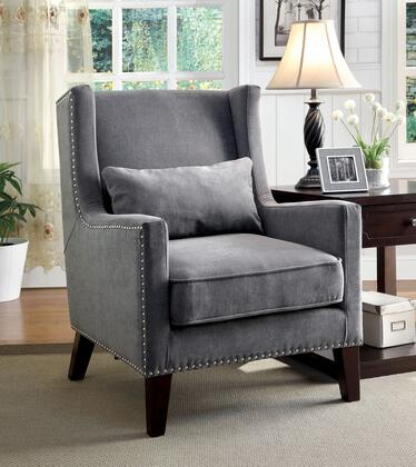 Tomar Collection CM-AC6115GY Accent Chair with Contemporary Style  Wingback Design  Nailhead Trim  Pillows Included in