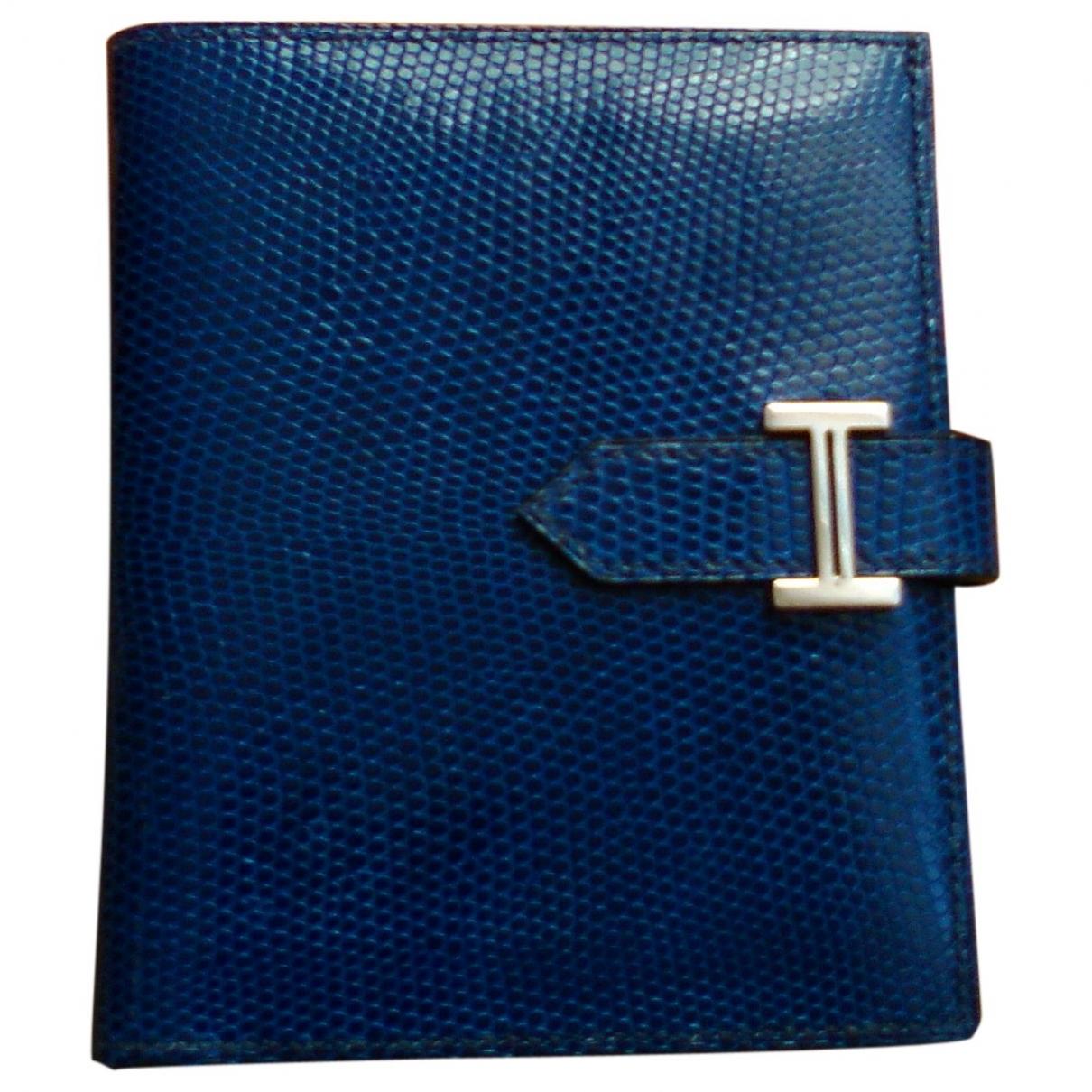 Hermès Béarn Blue Lizard wallet for Women \N