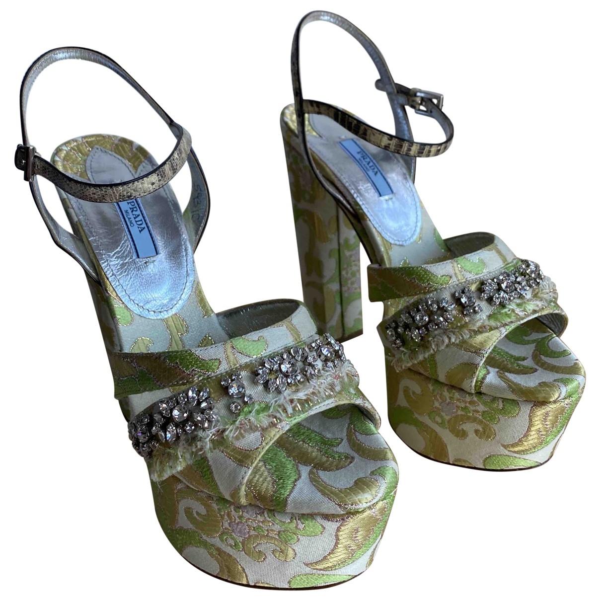 Prada \N Green Cloth Sandals for Women 40 EU