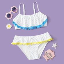 Bañador bikini de niñas ribete con pompon con estampado de estrella