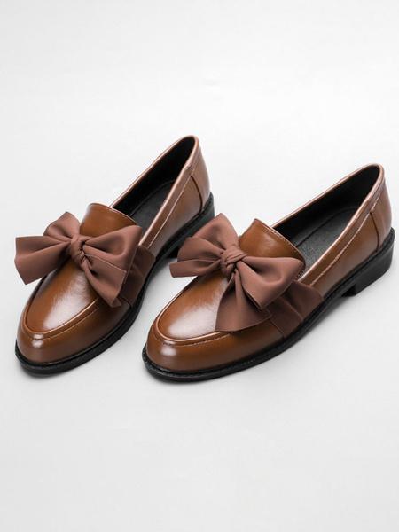 Milanoo Mocasines negros para mujer con puntera redonda y lazo de cuero PU en los zapatos
