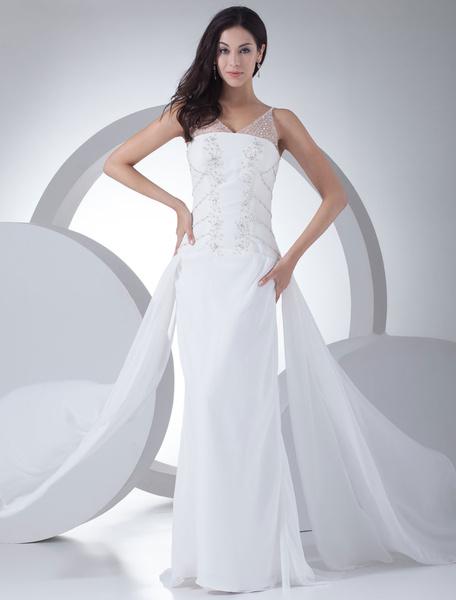 Milanoo Vestido de novia escote palabra de honor cuentas hasta el suelo