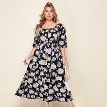 Plus Button Front Floral Print Dress