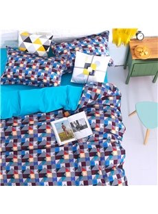 Adorila 60S Brocade Colorful Geometric Grid 4-Piece Cotton Bedding Sets/Duvet Cover