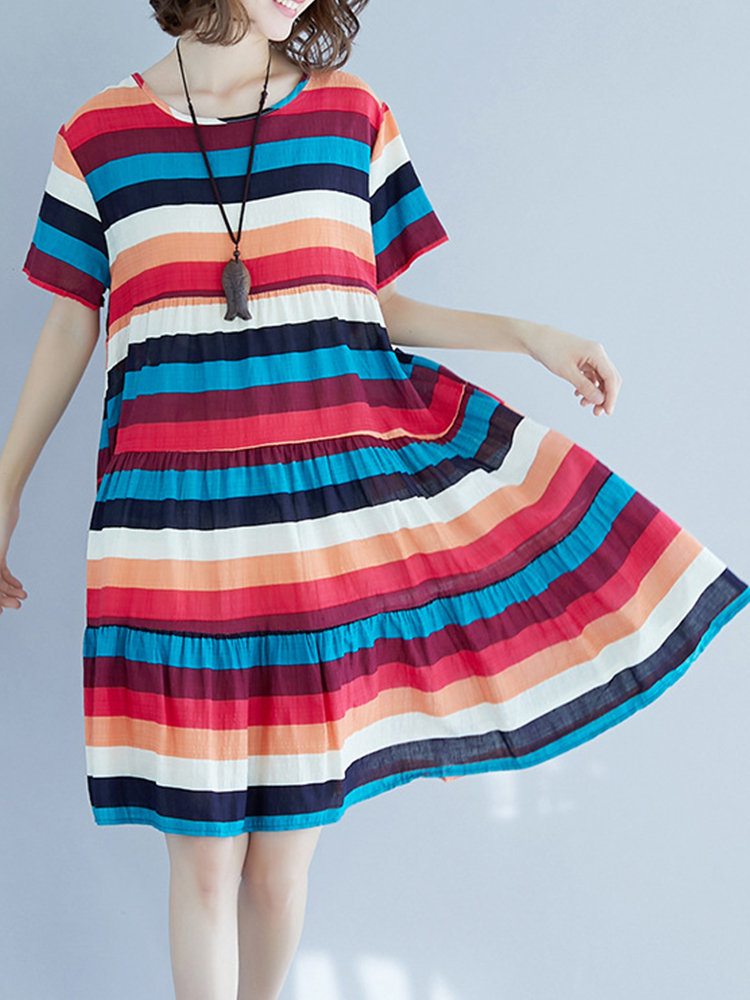 Casual Striped Stitching Dress for Women