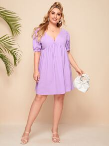 Plus Puff Sleeve Tie Back Smock Dress