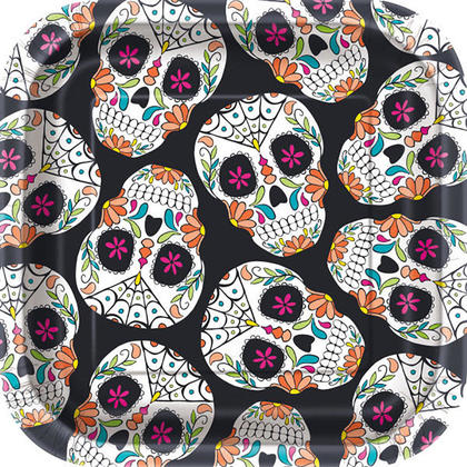 Happy Halloween Square Skull Day of the Dead Paper Plates for Home Party Decor, 7