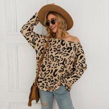 Leopard Print Popcorn Knit Oversized Top
