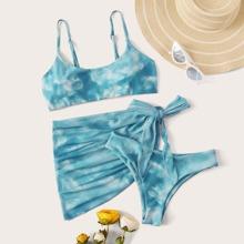 3pack Tie Dye Bikini Swimsuit & Beach Skirt
