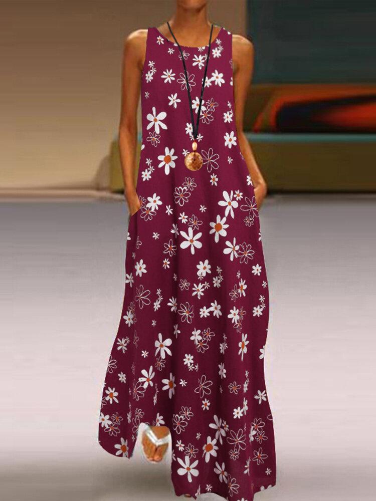 Daisy Floral Print Sleeveless Plus Size Maxi Dress