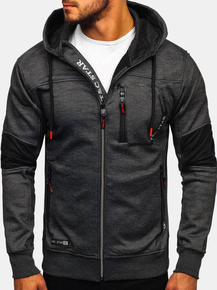 Men's Sports Fitness Casual Jacquard Drawstring Zipper Hooded Sweatshirt