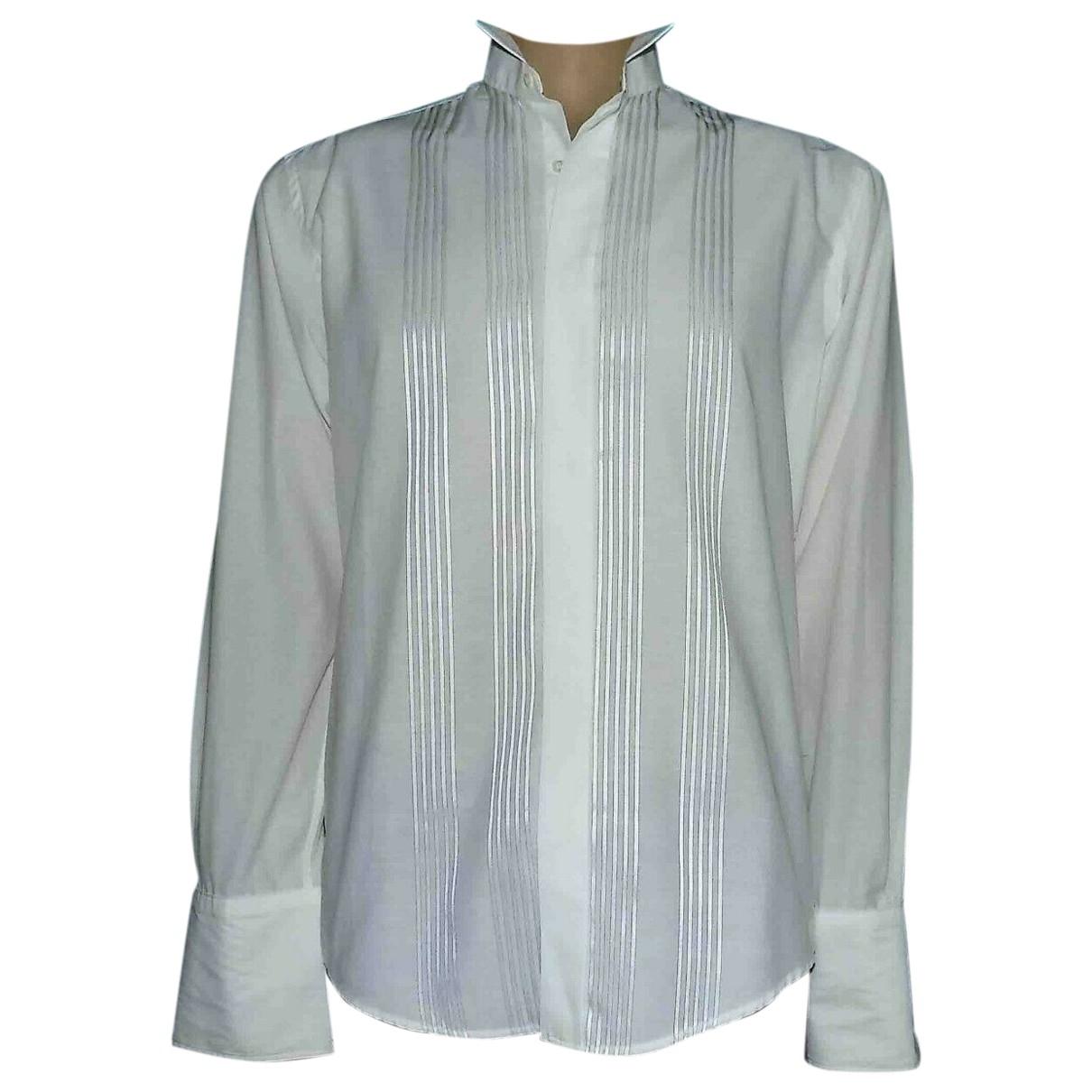 Yves Saint Laurent \N White Cotton Shirts for Men 40 EU (tour de cou / collar)
