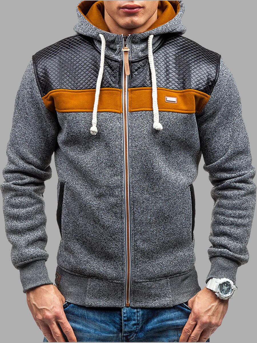LW Lovely Street Hooded Collar Color-lump Patchwork Dark Grey Men Coat